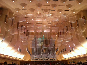 How critical is the ceiling in maximizing pleasure in a music performance venue? Ceiling dispersion/reflection tiles, Davies Symphony Hall in San Francisco.